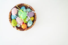 Colorful eggs - white background Stock Photo