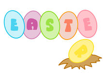 Colorful eggs with wording 'easter' Royalty Free Stock Images