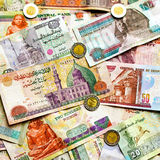 Colorful Egyptian money. Big pile of colorful Egyptian pounds banknote