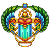 Colorful Egyptian Scarab Digital Painting Royalty Free Stock Photos