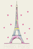Colorful Eiffel tower with hearts Royalty Free Stock Photos