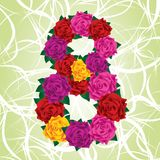 Colorful eight of roses on a green background Royalty Free Stock Photo