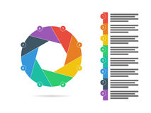 Colorful eight sided flat shutter puzzle presentation infographic diagram chart vector. Graphic template with explanatory text field isolated on white royalty free illustration
