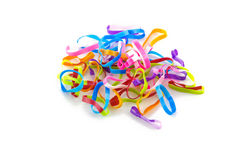 Colorful elastic bands on white background Stock Photo