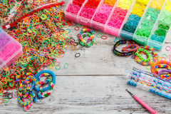 Colorful elastic loom bands Stock Photos
