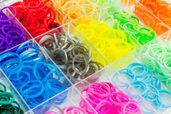 Colorful of elastic loom bands. Stock Photos