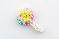 Colorful of elastic rainbow loom bands. Stock Images
