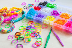Colorful of elastic rainbow loom bands Royalty Free Stock Image