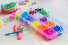Colorful of elastic rainbow loom bands Stock Photography