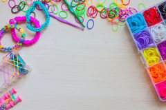 Colorful of elastic rainbow loom bands Royalty Free Stock Photography
