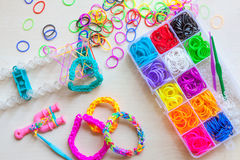 Colorful of elastic rainbow loom bands Royalty Free Stock Images
