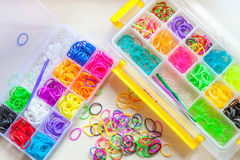 Colorful of elastic rainbow loom bands Stock Image