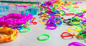 Colorful of elastic rainbow loom bands Royalty Free Stock Photo