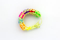Colorful of elastic  rainbow loom bands . Royalty Free Stock Photography