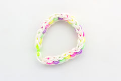 Colorful of elastic rainbow loom bands. Royalty Free Stock Images