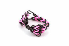 Colorful of elastic rainbow loom bands. Royalty Free Stock Photography