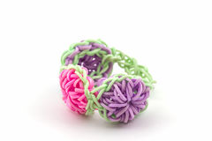 Colorful of elastic rainbow loom bands . Stock Photo