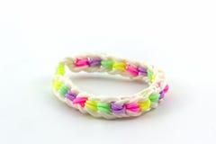 Colorful elastic rainbow loom bands. Stock Image