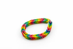 Colorful elastic rainbow loom bands. Royalty Free Stock Photography