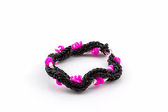 Colorful of elastic rainbow loom bands. Royalty Free Stock Image