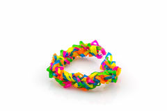 Colorful of elastic rainbow loom bands. Stock Photo