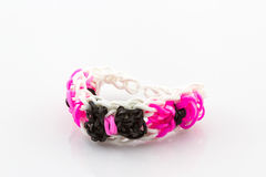 Colorful elastic rainbow loom bands. Royalty Free Stock Images
