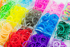 Colorful of elastic rainbow loom bands. Royalty Free Stock Photos