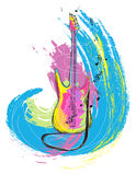 Colorful electric guitar. Colorful hand drawn illustration of electric guitar, created as very artistic painterly style for your design, isolated on white Royalty Free Stock Image