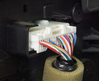 Colorful electric wiring. Of old car spare part with selective focus Royalty Free Stock Photography