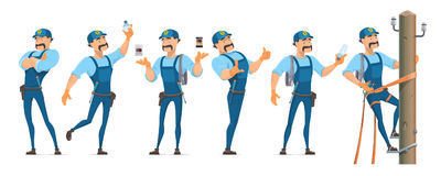 Colorful Electrician Characters Set. In different poses with professional equipment and master working on power pole isolated vector illustration stock illustration