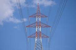 Colorful electricity pylon Stock Photo