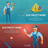 Colorful Electricity Work Horizontal Banners royalty free illustration