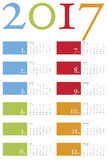 Colorful and elegant Calendar for year 2017. In vector format Royalty Free Stock Photo