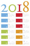 Colorful and elegant Calendar for year 2018 Royalty Free Stock Photos