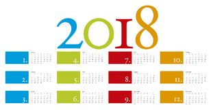 Colorful and elegant Calendar for year 2018 Stock Image
