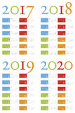 Colorful and elegant Calendar for years 2017, 2018, 2019 and 2020 Royalty Free Stock Images