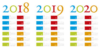 Colorful and elegant Calendar for years 2018, 2019 and 2020. In vector format Stock Images