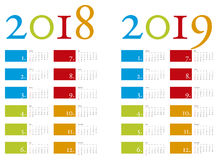 Colorful and elegant Calendar for years 2018 and 2019 in vector Stock Photography