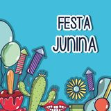 Colorful elements of festa junina celebration. Vector illustration Stock Photography