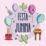 Colorful elements of festa junina celebration. Vector illustration Stock Photos
