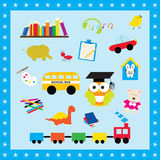 Colorful elements toys for kids. Illustration icon toys use to learn for children. royalty free illustration