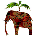 Colorful elephant with pattern and palm on white Royalty Free Stock Photos