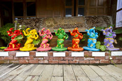 Colorful elephant statues Royalty Free Stock Photography
