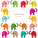 Colorful elephant vector baby greeting card Stock Images