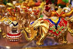 Exquisite colorful elephants figurines on display Turkey Stock Photography