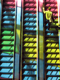 Colorful elevator. Colorful interior of Convention Center in Montreal(Palais des Congrès), elevator, go up Royalty Free Stock Photos