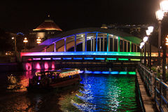 Colorful Elgin bridge at night in Singapore Royalty Free Stock Image