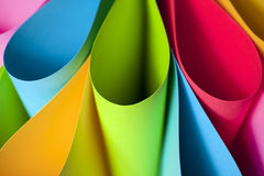 Colorful Ellipses. Colorful card stock in unique elliptical shapes with shadow effect and selective focus stock image