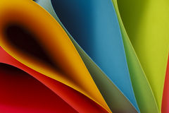 Colorful Ellipses. Colorful card stock in unique elliptical shapes with shadow effect and selective focus royalty free stock photos