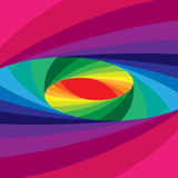 Colorful Elliptical Helix Shimmering from Dark to Light Tones and  Expanding from the Center. Optical Illusion of Depth and Volume. Vector Illustration. Colorful Stock Photography